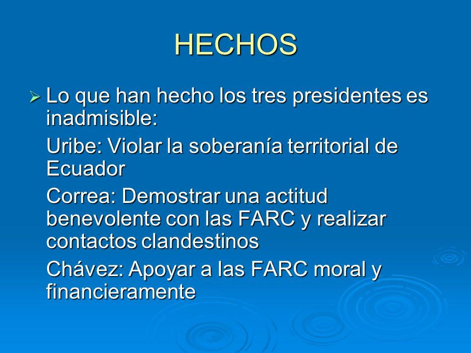 HECHOS Lo que han hecho los tres presidentes es inadmisible: Lo que han hecho los tres presidentes es inadmisible: Uribe: Violar la soberanía territorial de Ecuador Correa: Demostrar una actitud benevolente con las FARC y realizar contactos clandestinos Chávez: Apoyar a las FARC moral y financieramente