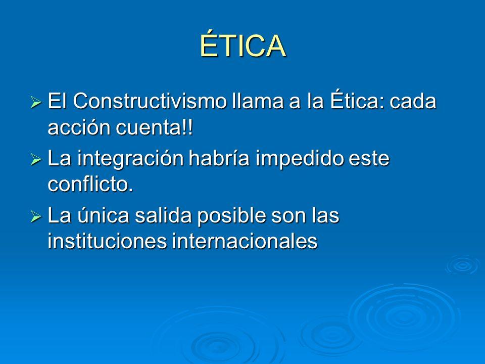 ÉTICA El Constructivismo llama a la Ética: cada acción cuenta!! El Constructivismo llama a la Ética: cada acción cuenta!! La integración habría impedi