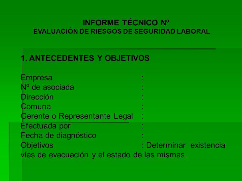 INFORME TÉCNICO Nº EVALUACIÓN DE RIESGOS DE SEGURIDAD LABORAL 1.