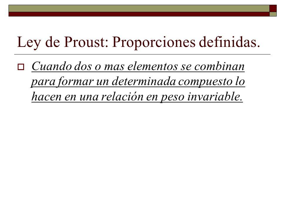 Ley de Proust: Proporciones definidas. Cuando dos o mas elementos se combinan para formar un determinada compuesto lo hacen en una relación en peso in