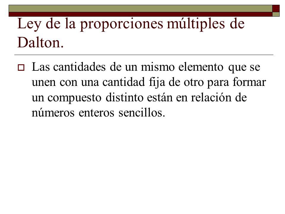 Ley de la proporciones múltiples de Dalton. Las cantidades de un mismo elemento que se unen con una cantidad fija de otro para formar un compuesto dis