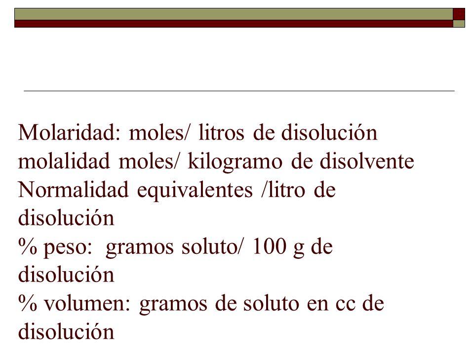 Molaridad: moles/ litros de disolución molalidad moles/ kilogramo de disolvente Normalidad equivalentes /litro de disolución % peso: gramos soluto/ 10