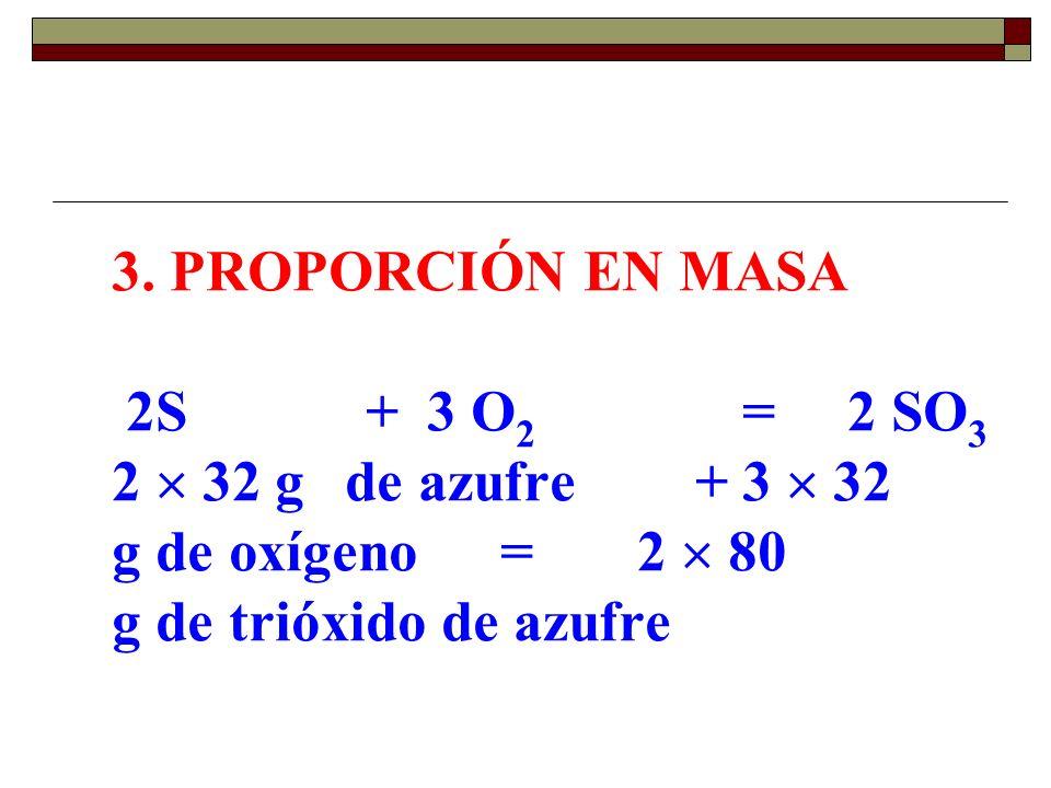 3. PROPORCIÓN EN MASA 2S +3 O 2 =2 SO 3 2 32 g de azufre +3 32 g de oxígeno =2 80 g de trióxido de azufre