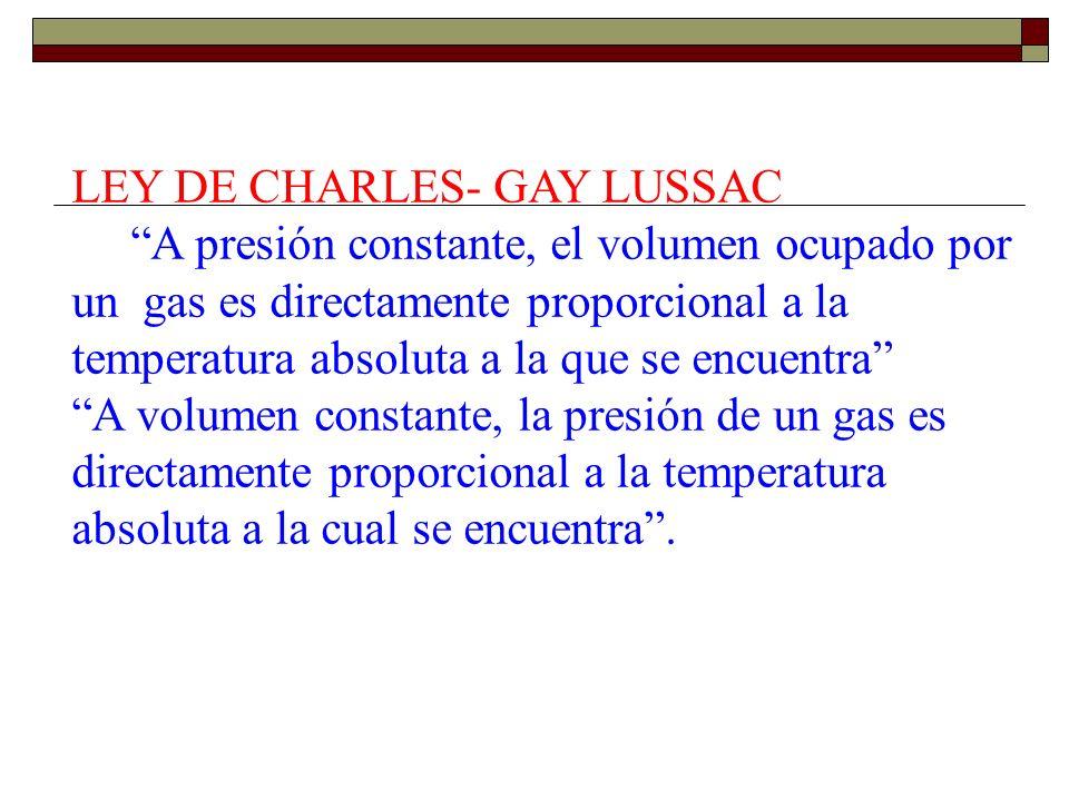 LEY DE CHARLES- GAY LUSSAC A presión constante, el volumen ocupado por un gas es directamente proporcional a la temperatura absoluta a la que se encue