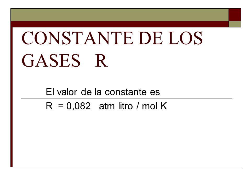 CONSTANTE DE LOS GASES R El valor de la constante es R = 0,082 atm litro / mol K