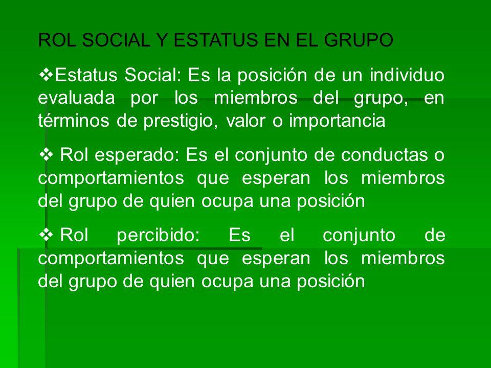 ROL SOCIAL Y ESTATUS EN EL GRUPO Estatus Social: Es la posición de un individuo evaluada por los miembros del grupo, en términos de prestigio, valor o