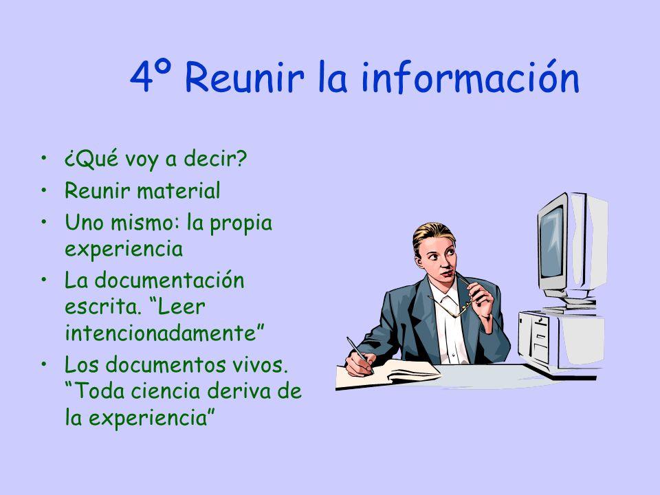 4º Reunir la información ¿Qué voy a decir.
