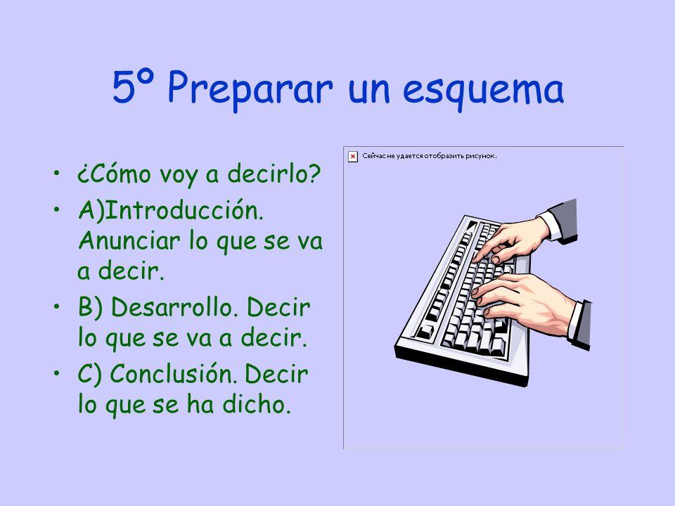 5º Preparar un esquema ¿Cómo voy a decirlo.A)Introducción.