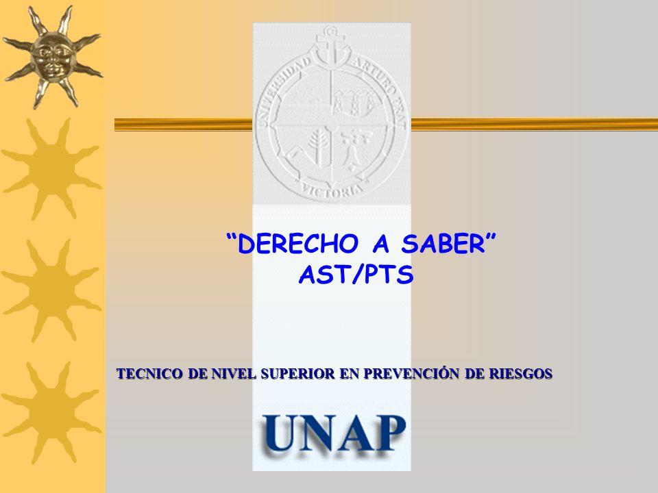 TECNICO DE NIVEL SUPERIOR EN PREVENCIÓN DE RIESGOS DERECHO A SABER AST/PTS