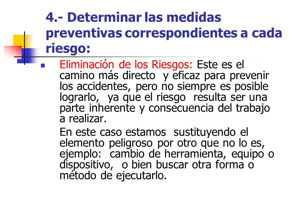 4.- Determinar las medidas preventivas correspondientes a cada riesgo: Eliminación de los Riesgos: Este es el camino más directo y eficaz para preveni
