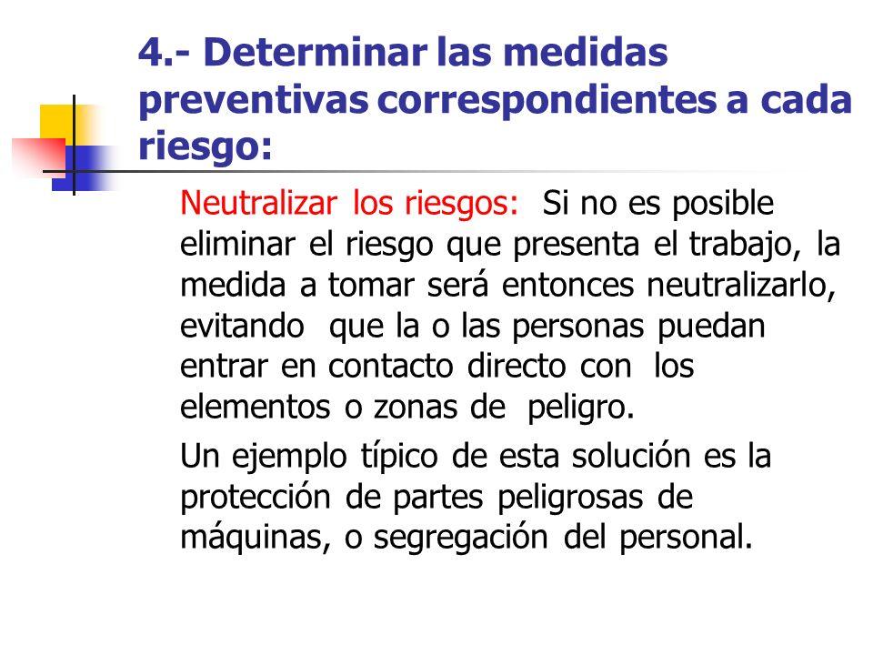 4.- Determinar las medidas preventivas correspondientes a cada riesgo: Neutralizar los riesgos: Si no es posible eliminar el riesgo que presenta el tr