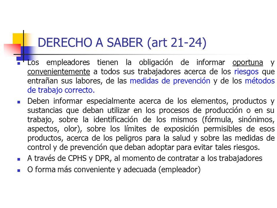 DERECHO A SABER (art 21-24) INFRACCIONES: 1.Recargos CAD (DS 67) 2.