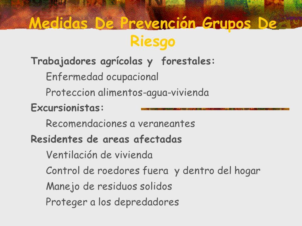 Medidas De Prevención Grupos De Riesgo Trabajadores agrícolas y forestales: Enfermedad ocupacional Proteccion alimentos-agua-vivienda Excursionistas: