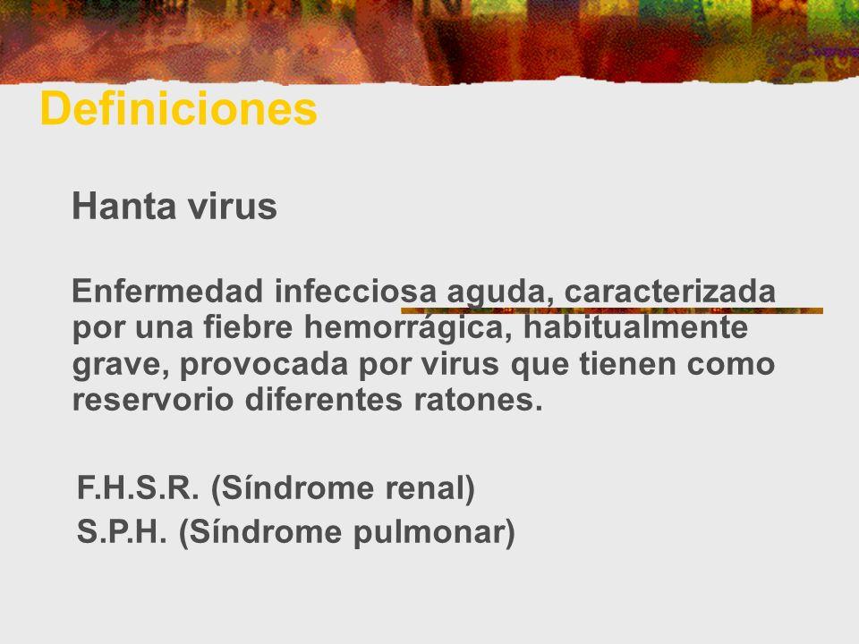Definiciones Hanta virus Enfermedad infecciosa aguda, caracterizada por una fiebre hemorrágica, habitualmente grave, provocada por virus que tienen co