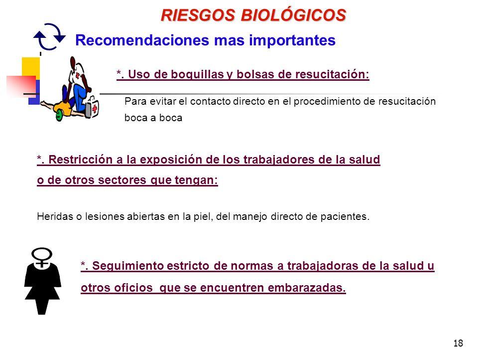 18 Para evitar el contacto directo en el procedimiento de resucitación boca a boca RIESGOS BIOLÓGICOS Recomendaciones mas importantes *.