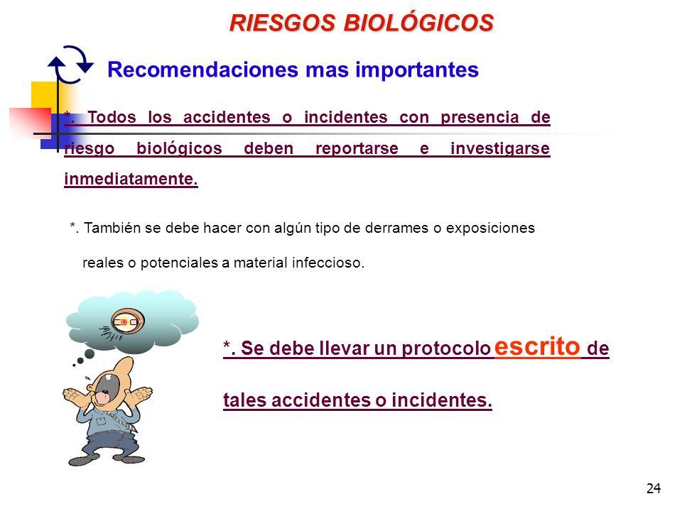 24 *.Se debe llevar un protocolo escrito de tales accidentes o incidentes.