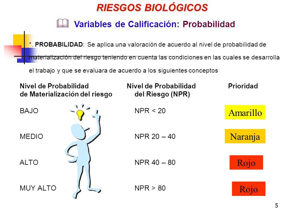 5 Nivel de Probabilidad Nivel de Probabilidad Prioridad de Materialización del riesgodel Riesgo (NPR) BAJONPR 80 RIESGOS BIOLÓGICOS Variables de Calificación: Probabilidad *.