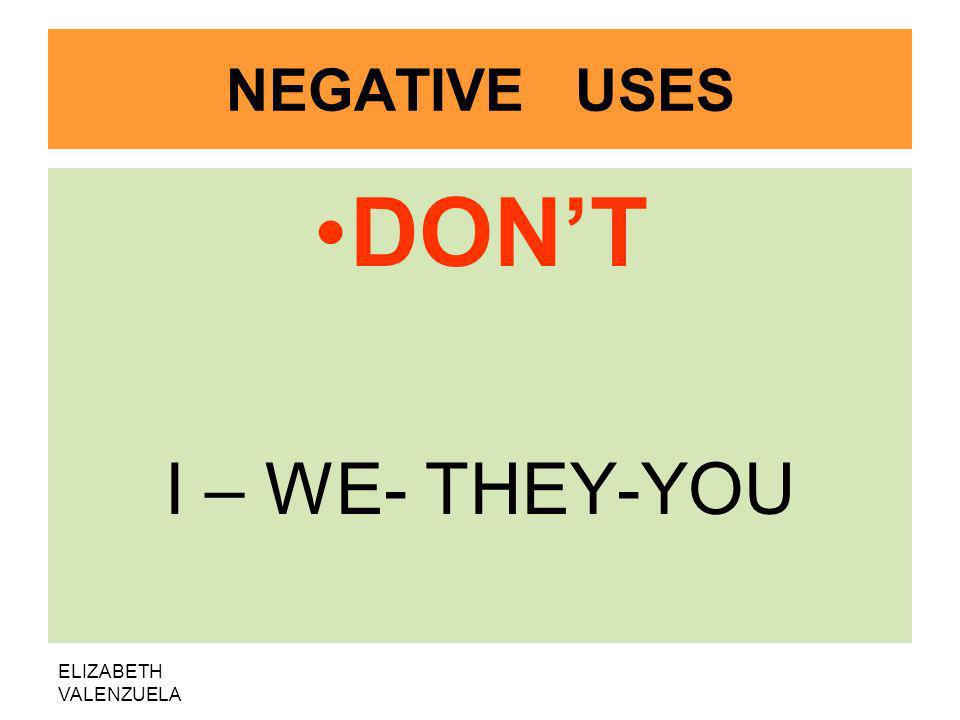 ELIZABETH VALENZUELA NEGATIVE USES DONT I – WE- THEY-YOU