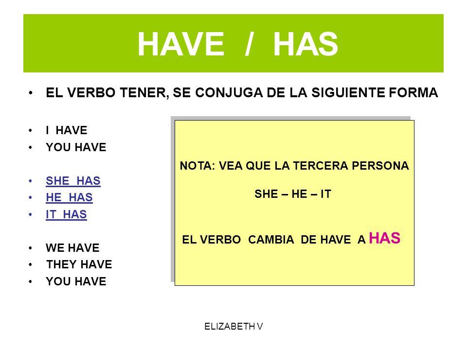 HAVE / HAS EL VERBO TENER, SE CONJUGA DE LA SIGUIENTE FORMA I HAVE YOU HAVE SHE HAS HE HAS IT HAS WE HAVE THEY HAVE YOU HAVE NOTA: VEA QUE LA TERCERA