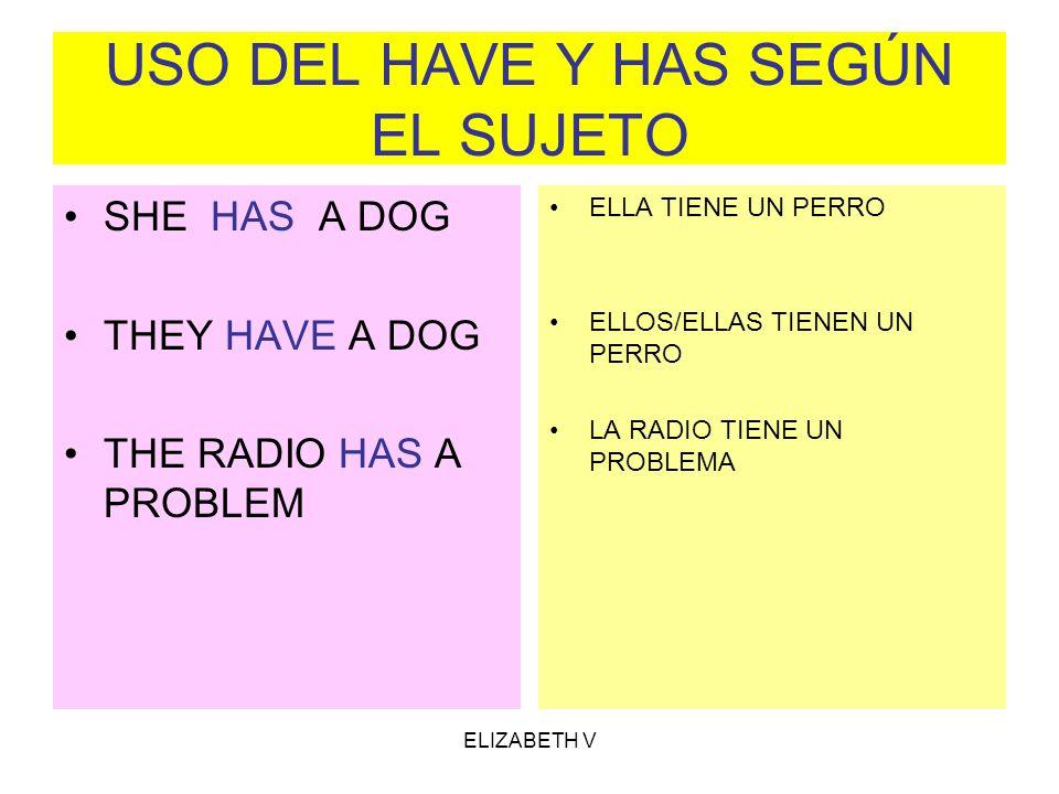 ELIZABETH V USO DEL HAVE Y HAS SEGÚN EL SUJETO SHE HAS A DOG THEY HAVE A DOG THE RADIO HAS A PROBLEM ELLA TIENE UN PERRO ELLOS/ELLAS TIENEN UN PERRO L