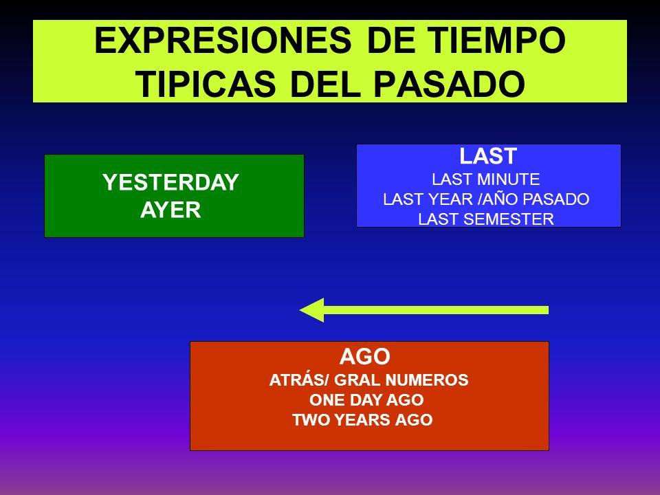 EXPRESIONES DE TIEMPO TIPICAS DEL PASADO YESTERDAY AYER AGO ATRÁS/ GRAL NUMEROS ONE DAY AGO TWO YEARS AGO LAST LAST MINUTE LAST YEAR /AÑO PASADO LAST