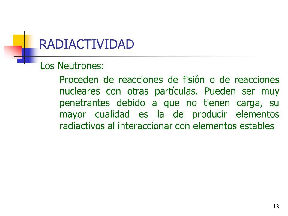 13 RADIACTIVIDAD Los Neutrones: Proceden de reacciones de fisión o de reacciones nucleares con otras partículas. Pueden ser muy penetrantes debido a q