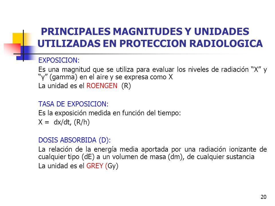 20 PRINCIPALES MAGNITUDES Y UNIDADES UTILIZADAS EN PROTECCION RADIOLOGICA EXPOSICION: Es una magnitud que se utiliza para evaluar los niveles de radia