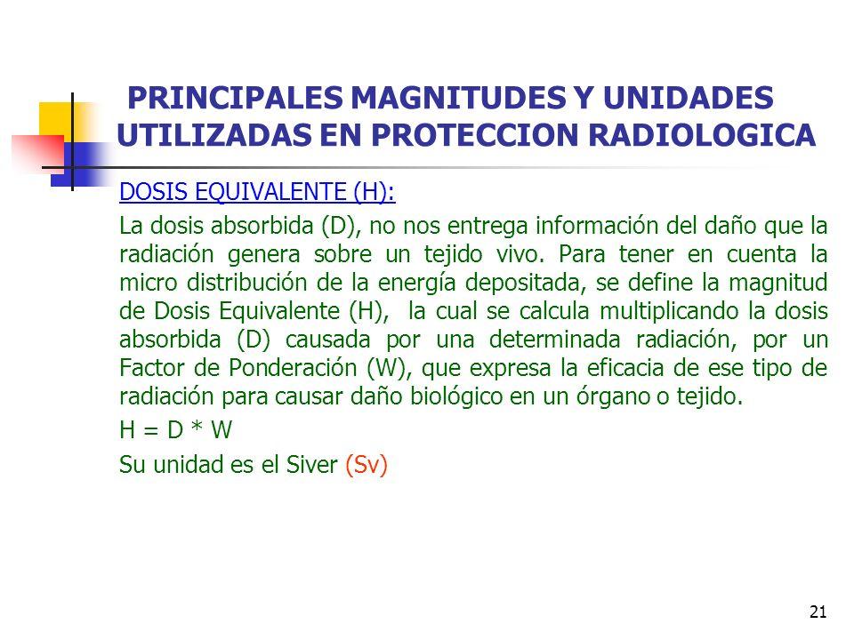 21 PRINCIPALES MAGNITUDES Y UNIDADES UTILIZADAS EN PROTECCION RADIOLOGICA DOSIS EQUIVALENTE (H): La dosis absorbida (D), no nos entrega información de