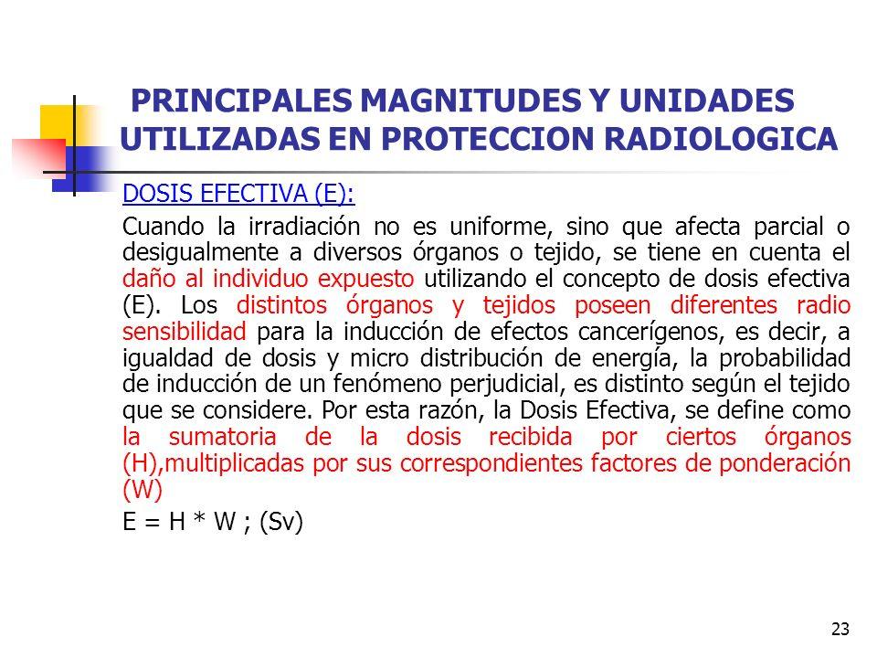 23 PRINCIPALES MAGNITUDES Y UNIDADES UTILIZADAS EN PROTECCION RADIOLOGICA DOSIS EFECTIVA (E): Cuando la irradiación no es uniforme, sino que afecta pa
