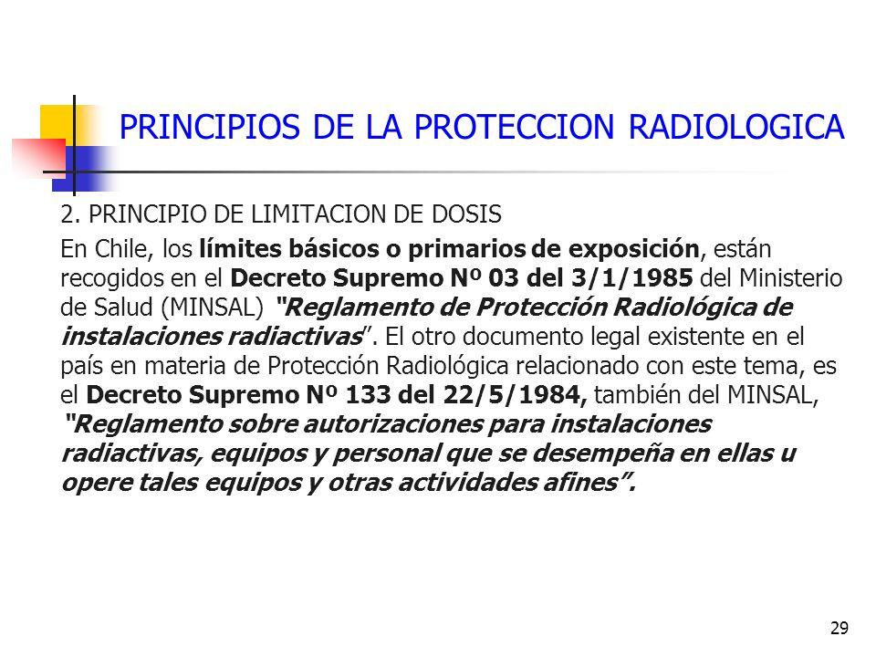 29 PRINCIPIOS DE LA PROTECCION RADIOLOGICA 2. PRINCIPIO DE LIMITACION DE DOSIS En Chile, los límites básicos o primarios de exposición, están recogido