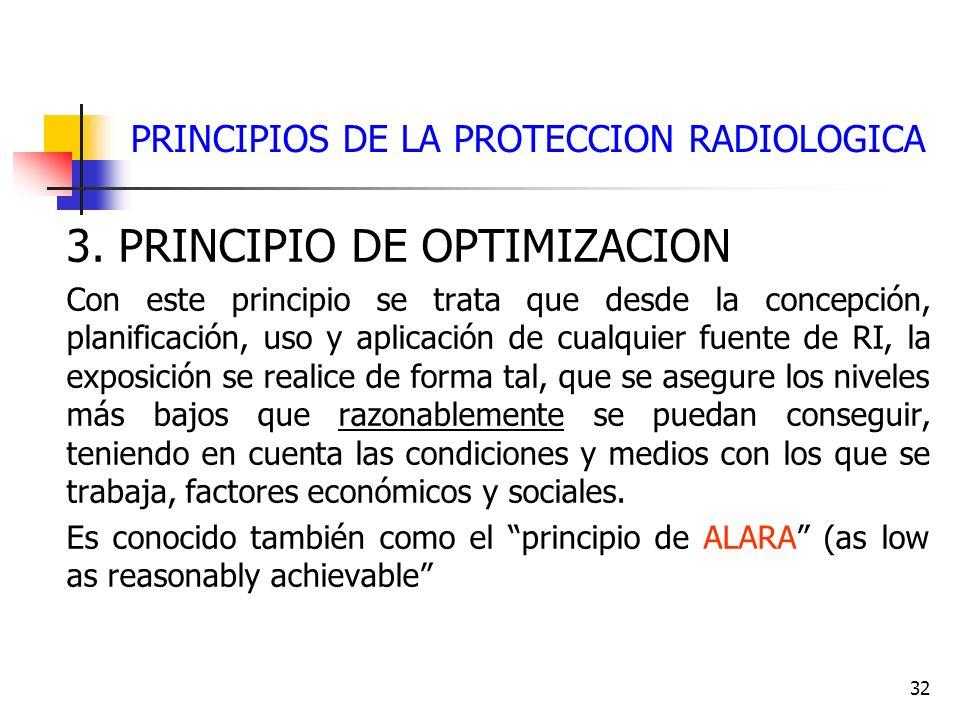 32 PRINCIPIOS DE LA PROTECCION RADIOLOGICA 3. PRINCIPIO DE OPTIMIZACION Con este principio se trata que desde la concepción, planificación, uso y apli