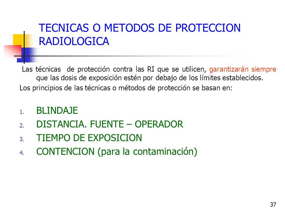 37 TECNICAS O METODOS DE PROTECCION RADIOLOGICA Las técnicas de protección contra las RI que se utilicen, garantizarán siempre que las dosis de exposi