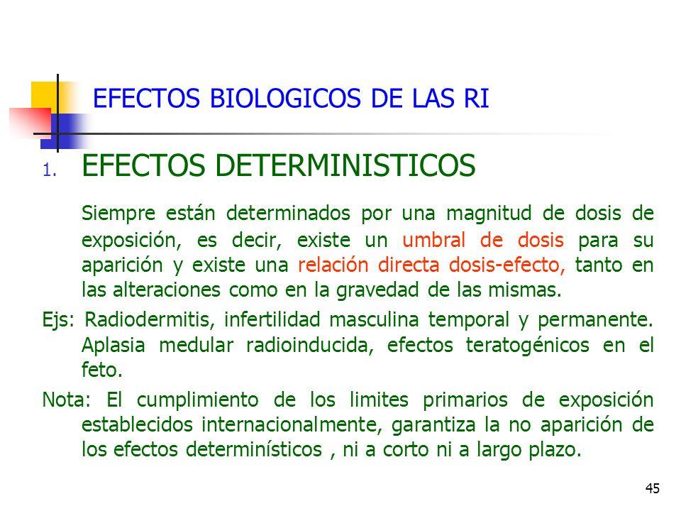45 EFECTOS BIOLOGICOS DE LAS RI 1. EFECTOS DETERMINISTICOS Siempre están determinados por una magnitud de dosis de exposición, es decir, existe un umb