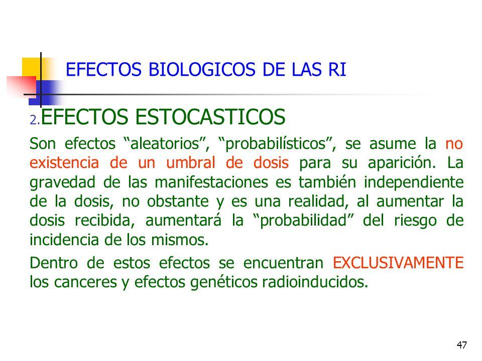 47 EFECTOS BIOLOGICOS DE LAS RI 2. EFECTOS ESTOCASTICOS Son efectos aleatorios, probabilísticos, se asume la no existencia de un umbral de dosis para
