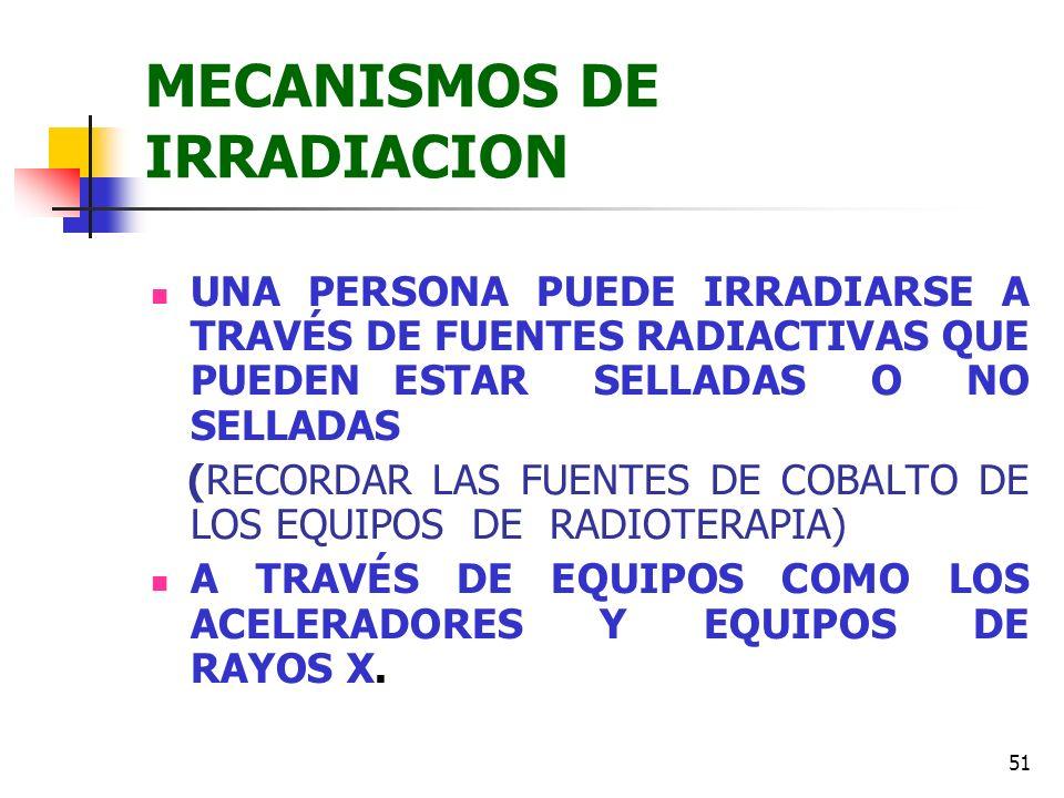 51 MECANISMOS DE IRRADIACION UNA PERSONA PUEDE IRRADIARSE A TRAVÉS DE FUENTES RADIACTIVAS QUE PUEDEN ESTAR SELLADAS O NO SELLADAS (RECORDAR LAS FUENTE