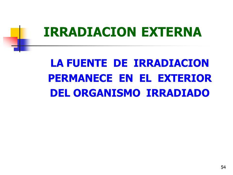 54 IRRADIACION EXTERNA LA FUENTE DE IRRADIACION PERMANECE EN EL EXTERIOR DEL ORGANISMO IRRADIADO