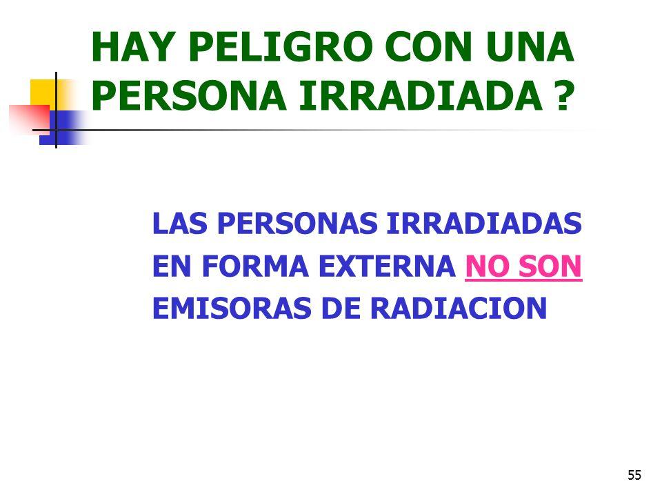 55 HAY PELIGRO CON UNA PERSONA IRRADIADA ? LAS PERSONAS IRRADIADAS EN FORMA EXTERNA NO SON EMISORAS DE RADIACION