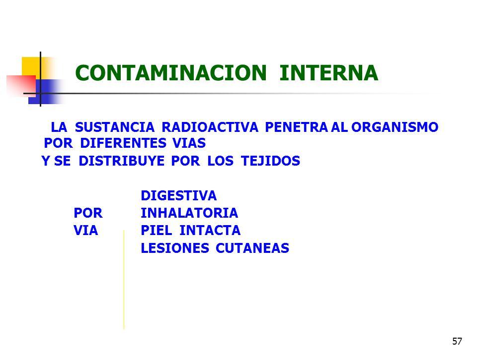 57 CONTAMINACION INTERNA LA SUSTANCIA RADIOACTIVA PENETRA AL ORGANISMO POR DIFERENTES VIAS Y SE DISTRIBUYE POR LOS TEJIDOS DIGESTIVA POR INHALATORIA V