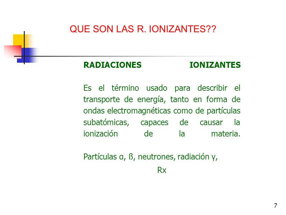 7 RADIACIONES IONIZANTES Es el término usado para describir el transporte de energía, tanto en forma de ondas electromagnéticas como de partículas sub