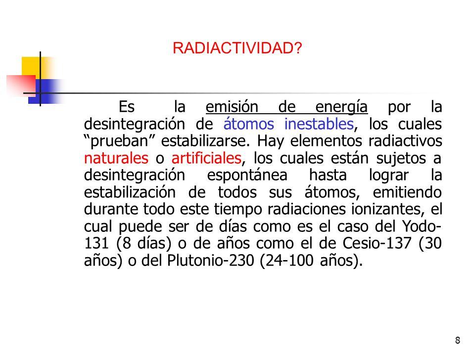 8 Es la emisión de energía por la desintegración de átomos inestables, los cuales prueban estabilizarse. Hay elementos radiactivos naturales o artific