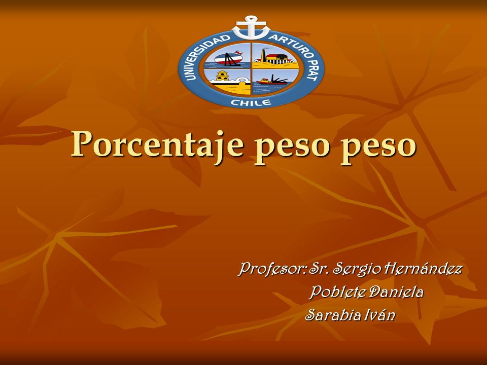 Porcentaje peso peso Profesor: Sr. Sergio Hernández Profesor: Sr.