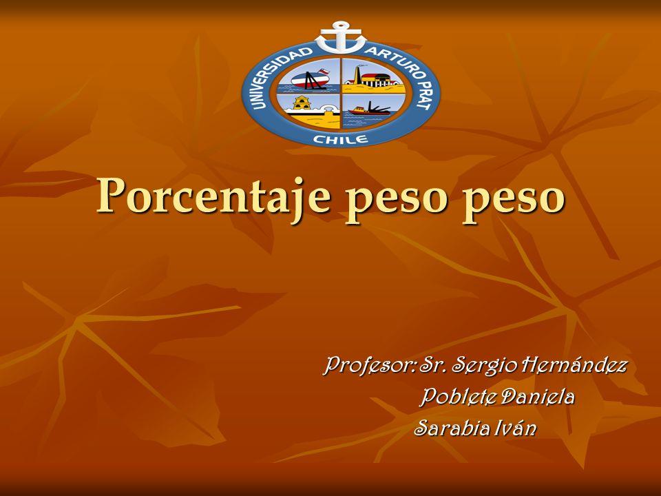 Porcentaje peso peso Profesor: Sr. Sergio Hernández Profesor: Sr. Sergio Hernández Poblete Daniela Poblete Daniela Sarabia Iván Sarabia Iván
