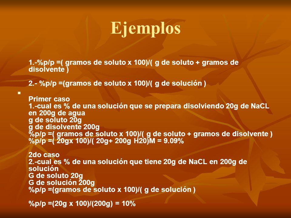 Ejemplos 1.-%p/p =( gramos de soluto x 100)/( g de soluto + gramos de disolvente ) 2.- %p/p =(gramos de soluto x 100)/( g de solución ) Primer caso 1.-cual es % de una solución que se prepara disolviendo 20g de NaCL en 200g de agua g de soluto 20g g de disolvente 200g %p/p =( gramos de soluto x 100)/( g de soluto + gramos de disolvente ) %p/p =( 20gx 100)/( 20g+ 200g H20)M = 9.09% 2do caso 2.-cual es % de una solución que tiene 20g de NaCL en 200g de solución G de soluto 20g G de solución 200g %p/p =(gramos de soluto x 100)/( g de solución ) %p/p =(20g x 100)/(200g) = 10%