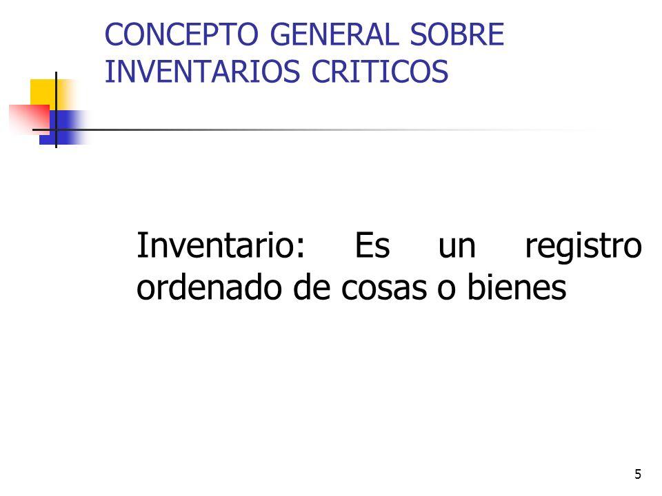 5 CONCEPTO GENERAL SOBRE INVENTARIOS CRITICOS Inventario: Es un registro ordenado de cosas o bienes