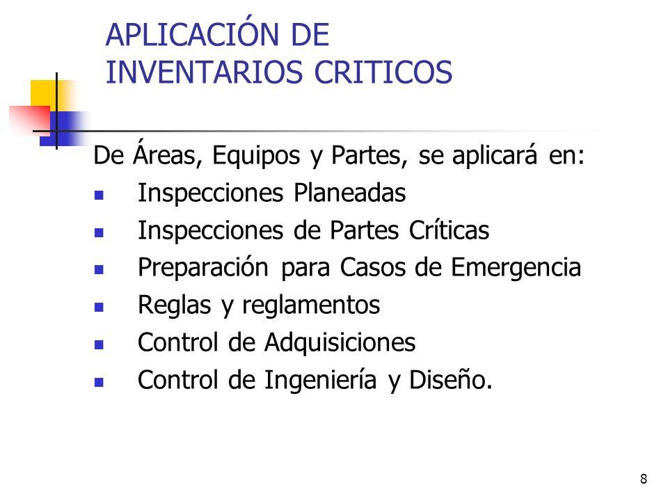 8 APLICACIÓN DE INVENTARIOS CRITICOS De Áreas, Equipos y Partes, se aplicará en: Inspecciones Planeadas Inspecciones de Partes Críticas Preparación pa