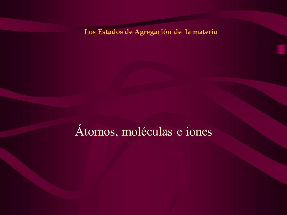 Los Estados de Agregación de la materia Átomos, moléculas e iones