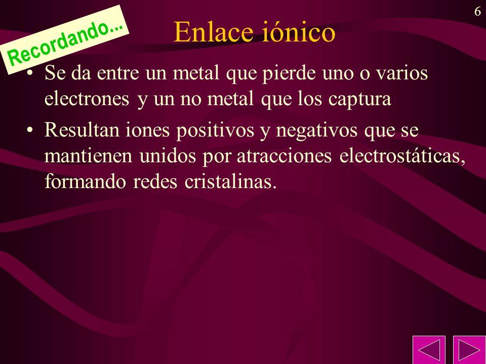 6 Enlace iónico Se da entre un metal que pierde uno o varios electrones y un no metal que los captura Resultan iones positivos y negativos que se mant