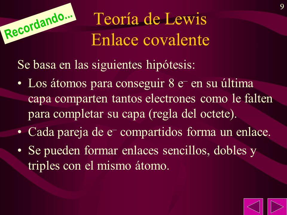 9 Teoría de Lewis Enlace covalente Se basa en las siguientes hipótesis: Los átomos para conseguir 8 e – en su última capa comparten tantos electrones