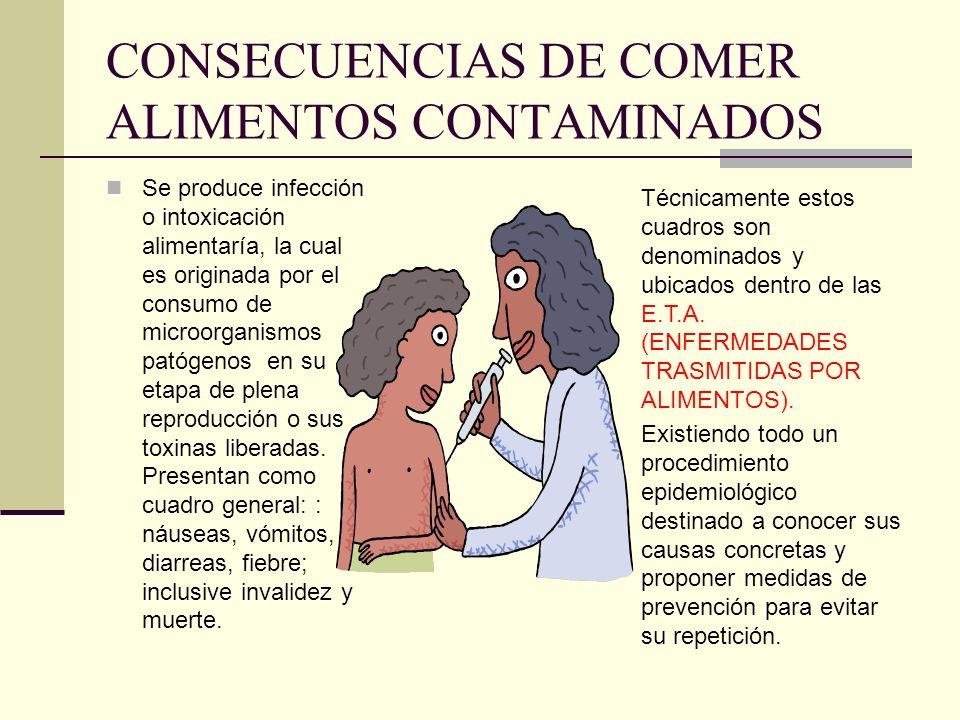 CONSECUENCIAS DE COMER ALIMENTOS CONTAMINADOS Se produce infección o intoxicación alimentaría, la cual es originada por el consumo de microorganismos