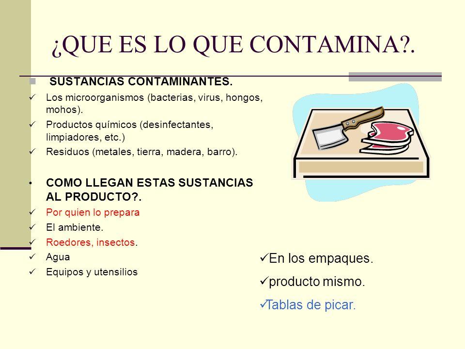 ¿QUE ES LO QUE CONTAMINA?. SUSTANCIAS CONTAMINANTES. Los microorganismos (bacterias, virus, hongos, mohos). Productos químicos (desinfectantes, limpia